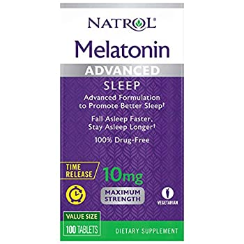 Natrol Melatonin Advanced Sleep Tablets with Vitamin B6 Helps You Fall Asleep Faster Stay Asleep Longer 2-Layer Controlled Release 100% Drug-Free Maximum Strength 10mg 100 Count