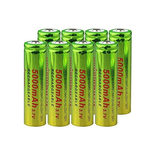 hsvgjsfa Batería De Litio De Iones De Litio De 3.7v 5000mah 18650, Carga De BateríAs Recargables para Linterna Verde + Amarillo 8pcs