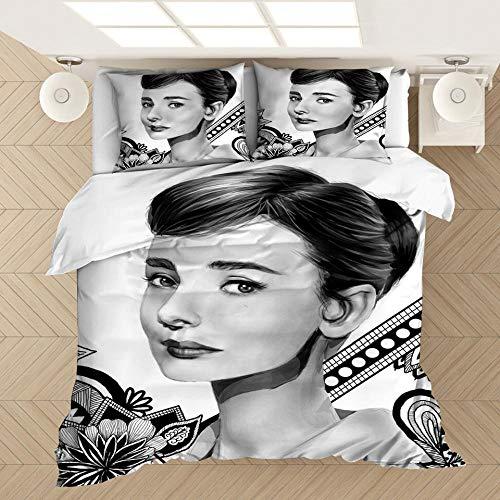 Pgainajieysys Juego de Cama con Funda nórdica y Funda de Almohada de la Hermosa Actriz británica Audrey Hepburn, Suave y cómodo,...