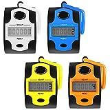 AFUNTA Contadores electrónicos 4 Piezas - Pantalla LED de 5 dígitos, número de clicker Manual mecánico Contador de Seguimiento de Vueltas con Soporte de aro de Anillo de Dedo - 4 Colores