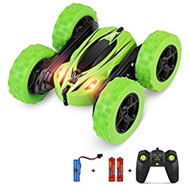Bifyton remote control car, rc car remote control stunt car double sided rotating tumbling 360 degree flips, rc truck with led headlights, 4wd 2. 4ghz off-road racing vehicles for kids 1 full-functional car: forward, back, left turn, right turn. This off-road car has double sides running, and can do 360 degree stunt flip rotation spinning. Quickly overcomes all obstacles. Kids will control the flip car with excitement and thrill. Keeps kids focused and entertained, offer a fun as well as educational way to enjoy the reversible remote control car. 2. 4ghz remote control: the stunt car adopts 2. 4ghz technology to support many high speed vehicles, long control distance, good anti-jamming capability, suitable for more cars playing at the same time with mutual interference prevention. High speed: high speed flashing racing car, the rc stunt car has two powerful motors with 4wd, ensure its high speed. Very flexible wheels, it is easy to make quick turns. Suitable for indoor and outdoor crawling on almost all terrains.