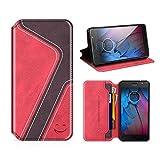 MOBESV Smiley Motorola Moto G5S Hülle Leder, Motorola Moto G5S Tasche Lederhülle/Wallet Hülle/Ledertasche Handyhülle/Schutzhülle mit Kartenfach für Motorola Moto G5S, Rot/Dunkel Violett