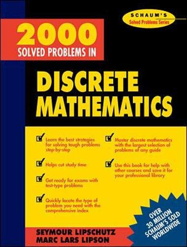 Compare Textbook Prices for 2000 Solved Problems in Discrete Mathematics 1 Edition ISBN 9780070380318 by Lipschutz, Seymour