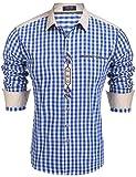 COOFANDY Trachtenhemd Herren Hemd Kariert Oktoberfest Cargohemd Baumwolle Freizeit Hemden Super Qualität- Gr. XXL, Blau