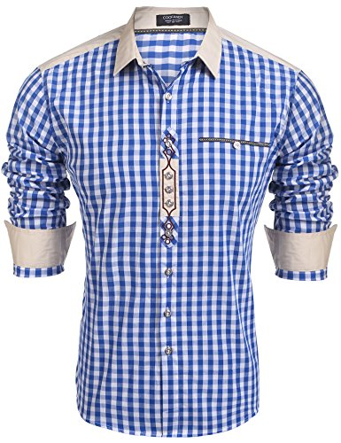 Coofandy Trachtenhemd Herren Hemd Kariert Oktoberfest Cargohemd Baumwolle Freizeit Hemden Super Qualität- Gr. M, Blau
