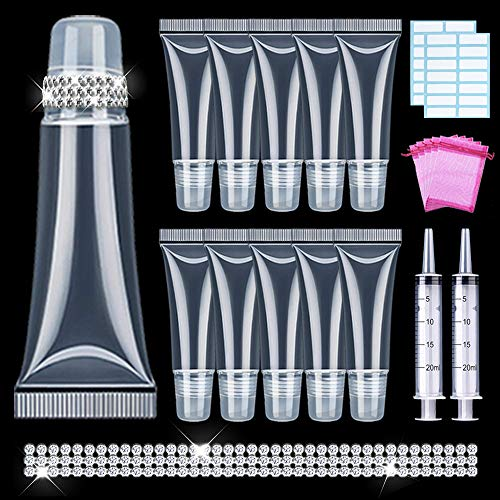 AMORIX 55PCS Lip Gloss Tubes 10ml Empty Lip Gloss Containers with Crystal Rhinestone + 2 x 20ml Syringes Clear Lip Balm Tubes Cute Lipgloss Supplies Squeeze Tubes Kit for DIY Lip Gloss Base Glitter