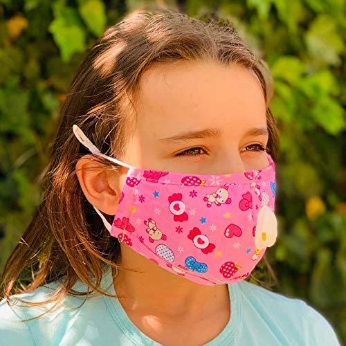 Ariel 33 Mascherine anti-inquinamento (2 Pz) per Bambini Lavabili in Cotone con Filtro Pm2.5 (4 Pz Inclusi) Fantasia Rosa