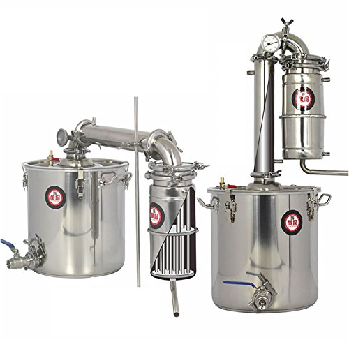 Nuevo 20 L DIY CASA Alambique Destilador Acero Inoxidable Destilación Enfriador Caldera...