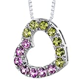 Created Pink Sapphire and Peridot Open Heart Pendant Necklace Sterling Silver