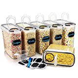 Large Cereal & Dry Food Storage Containers, Wildone Airtight Cereal Storage Containers for Sugar, Flour, Snack, Baking Supplies, Leak-Proof with Black Locking Lids - Set of 6 (4L /136.7oz)