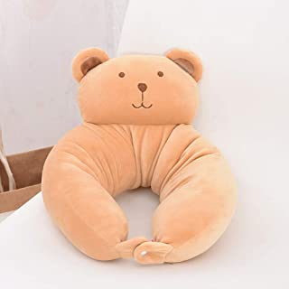 XuBa Multifunctional Cute U-Shaped Cartoon Animal Neck Waist Pillow for Car Train Office School Nap Khaki