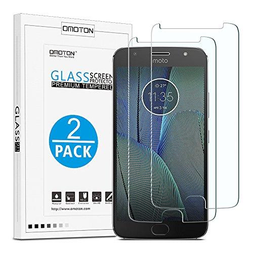 [2 Stück] OMOTON Panzerglas Schutzfolie kompatibel mit Motorola Moto G5S Plus [5.5 Zoll], Anti-Kratzer, Bläschenfrei, 9H Härte, HD-Klar, [2.5D] Bildschirmschutz für Moto G5 Plus
