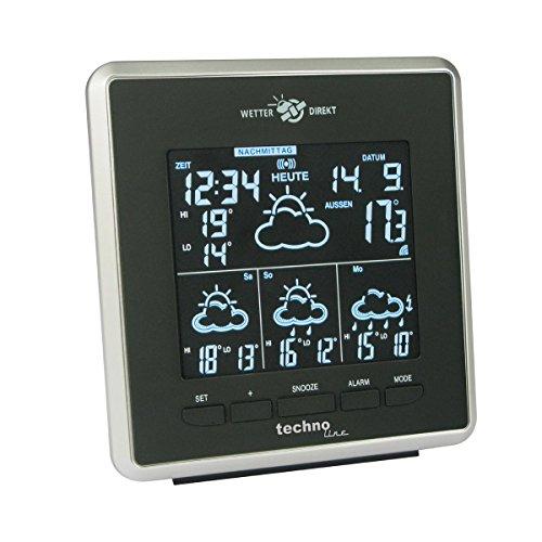 Technoline WD 4025 Wetterdirekt Wetterstation mit Innen- und Außentemperaturanzeige sowie Wettervorhersage für 4 Tage schwarz/silber LED BLAU
