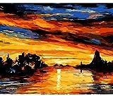 ZXlDXF Pintura al óleo del paisaje del mar por números pintada a mano dibujo sobre lienzo regalo único decoración del hogar puesta del sol 40,6 x 50,8 cm