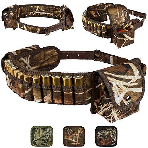 BRONZEDOG Shotshell Bandolier Waterproof Shotgun Shell Holder Adjustable Nylon Belt Case Hunting Accessories 12 16 Gauge (Brown Cane Camo)