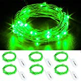 CYLAPEX 6 PCS Green Fairy Lights, Battery Operated String Lights Firefly Lights Micro LED Starry String Lights on 3.3ft/1m Silvery Copper Wire for DIY Christmas Decoration Costume Wedding Party Decor
