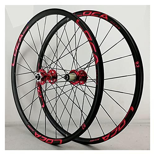 zyy Juego Ruedas Bicicleta 26 27.5 29 Pulgadas MTB Aleación Llanta Doble Pared 24H QR Freno Disco para Casete 8 9 10 11 12S (Color : Red-1, Size : 29in)