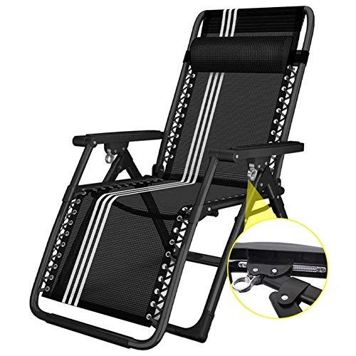 AFDK Sobredimensionado la gravedad cero Tumbona - Plegable silla reclinable ajustable para Playa Jardín Piscina de secado rápido - Soporte 330 libras (Negro)