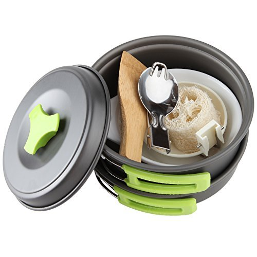 Product Image 1: MalloMe Camping Cookware Mess Kit Gear – Camp Accessories Equipment Pots and Pans Set 1L