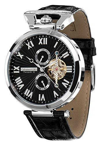Calvaneo 1583 Herren-Armbanduhr Venedi Steel Black Analog Automatik Leder schwarz 107920