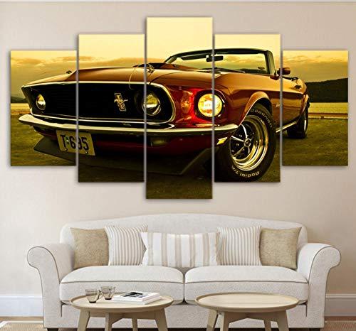 Suwhao Modulare Wandkunst Gemälde Hd Gedruckt Moderne Auto Poster Rahmen 5 Stücke 1969 Ford Mustang Leinwand Bilder Wohnkultur Wohnzimmer
