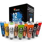 Zenacolor Kit de 12 Tubes de Peintures Acryliques 120ml, 12 Couleurs, Grand Format, Peintures pour Toiles, Bois, Loisirs Créatifs, pour Adultes et Enfants.