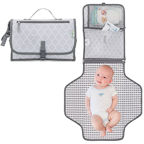 Comfy Cubs Baby Portable Changing Pad, Diaper Bag, Travel Mat Station Grey Large