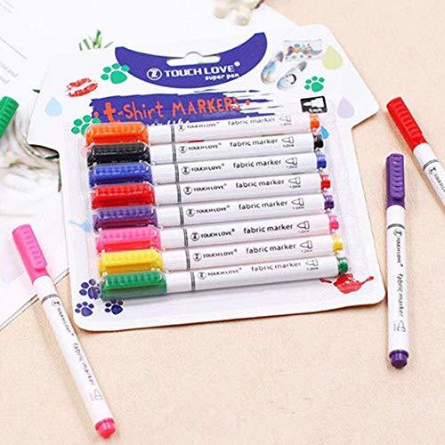 ZhiLian 8 lápices de tela lavables a máquina, lápices de colores rígidos para pintar bolsas de tela, bolsas de yute, camisetas, zapatos y otros textiles