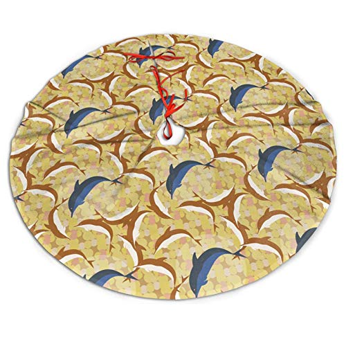 AIMASTZ Dolphins Under Water 48 Inch Christmas Tree Skirt, Personalized Holiday Xmas Decorations