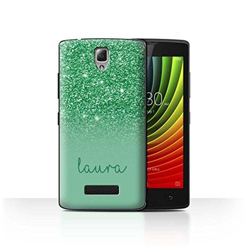 Personalisiert Hülle Für Lenovo A2010 Persönlich Glitter Effekt Grün Design Transparent Ultra Dünn Klar Hart Schutz Handyhülle Hülle