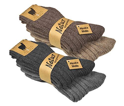 4er Pack Alpaka Socken Gr. 35/38, socken seide herren kaschmir-socken wintersocken damen warm alpaka...