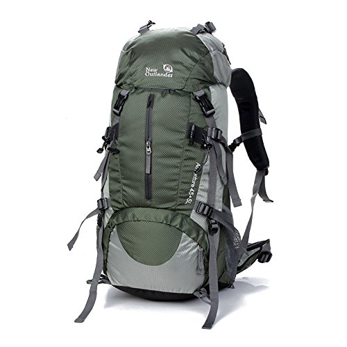 SUNVP 45L+5L Hiking Backpack Outdoor Sport Nylon Water-resistant Internal Frame Trekking Bag with Rain Cover for Climbing Camping Travel Mountaineering