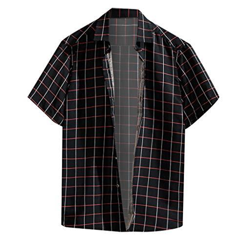 Men's Shirts Casual Plaid Print Short Sleeve Basic T-Shirts Turn-Down Collar Button-Down Tops Plus Size Black
