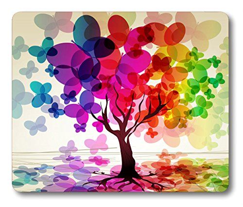 Abstract Art Mouse Pad Large Colorful Spring Season Tree with Butterflies Reflection Leaves in Rainbow Colors Ombre Pastoral Bath Print Art Non-Slip Rubber Mouse pad Gaming Mouse Pad Red Purple Green