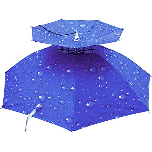 ZoneYan Kopfschirm Regenschirmhut, kopfschirm Regen, Kopf Sonnenschirm Hut, Zweischichtiger Atmungsaktiver Angelschirm, Faltbare, Outdoor, Golf, Angeln, Camping Mütze