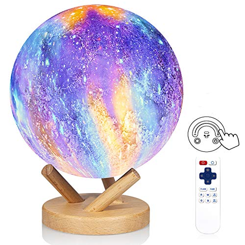 Moon Lamp,18 Colors Galaxy Lamp, LOGROTATE 2021 Upgrade Sliding Control 3D Galaxy Moon Night Light with Stand/Remote/Timing/Rechargeable for Bedrooms, Birthday Gift for Kids Friends,7 inch