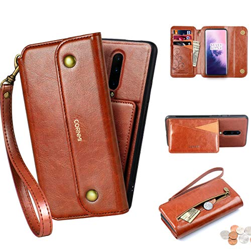 CORNMI OnePlus 7 Pro Wallet Case, Zipper Pocket 8Card Holders Kickstand Wrist Strap Detachable Leather Purse Folio Protective Flip Cover for OnePlus 7Pro (Brown)
