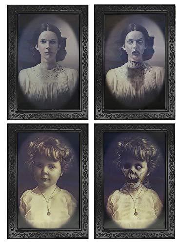 Decoración de Halloween, 2 Piezas 3D Marcos de Retratos Cambiantes de Cara, Accesorios de Casa Embrujada de Terror, Decoraciones de Fiesta de Halloween Espeluznantes, Halloween Decoration