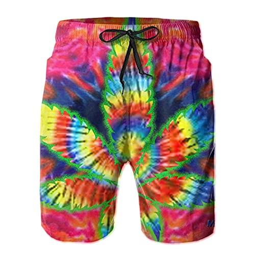 HARLEY BURTON Pantalones cortos de natación psicodélicos para hombre, marihuana teñida de secado rápido, pantalones cortos de tabla de surf y playa con cordón ajustable