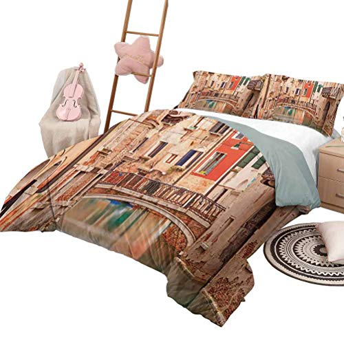 Kids' Quilt Set Venice Luxe Bedding 3 Piece Oversized Quilted Bedspread Coverlet Set European Old Town with Stone Bridge Houses and Historic Water Canal Image Queen Size Sand Brown Brown Red
