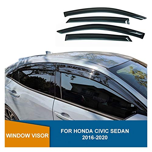 Ventanillas Viento y Lluvia para Honda Civic Sedan 10 de 2006 2017 2017 2019 2020 Devlectores de Ventanas Laterales Black Wind Shield Rain Sun Guards Viseras Laterales deflectores