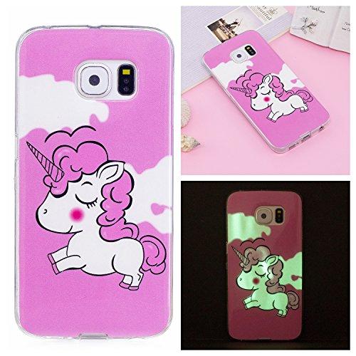 Qiaogle Telefono Case - Soft Custodia in TPU Silicone Case Cover per Samsung Galaxy S6 Edge/SM-G9250 (5.1 Pollici) - XS55 / Rose + Unicorn