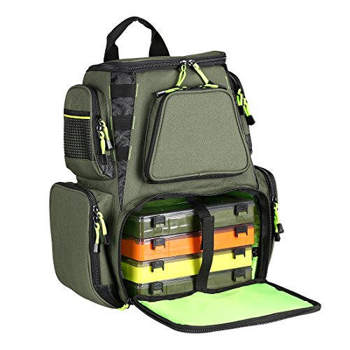 SeaKnight Fishing Tackle Backpack, Water-Resistant Large Storage with 4 Trays, Outdoor Multifunctional Box Tackle Bag for Fishing Camping Hiking Cycling (Green-25L with 4 Trays)