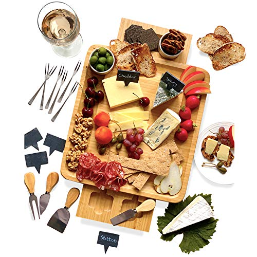 Bamboo Cheese Board and Knife Set - 20 pc Wood Charcuterie Platter - Serving Meat & Cheese Plate with 2 Slide-Out Drawers, 6 Appetizer Forks, 6 Slate Labels, 4 Stainless Steel Knives and Bowls