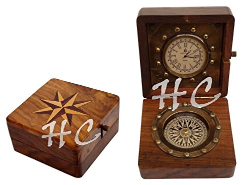 Hanzla Collection Antique Pocket Watch Compass Marine Nautical Desk Clock Brass Made Table Decor
