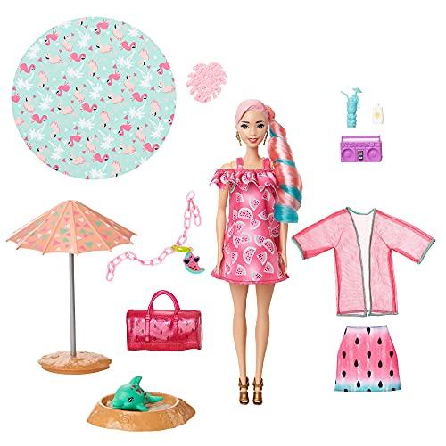 Barbie Color Reveal con espuma Sandía, muñeca sorpresa con vestido y accesorios de moda de verano de juguete (Mattel GTN19)
