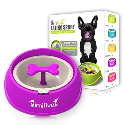 AINAAN Dog Feeder Slow Eating Pet Bowl Eco-Friendly Durable Non-Toxic Preventing Choking Healthy Design (Purple)