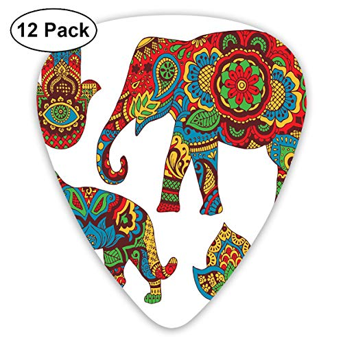 Guitar Picks12pcs Plectrum (0.46mm-0.96mm), African Savannah Animals Paisley And Hamsa Hand Pattern With Orient Ornate Malaysian,For Your Guitar or Ukulele