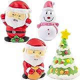 4 Piezas Grandes Squishies Toys de Navidad - Kawaii Diseño Festivo| 2 Santas, Árbol de Navidad, Muñeco de nieve| Lenta Rising Suaves Squishy Antiestres Juguetes| Regalo Para Los Adultos & Niños.