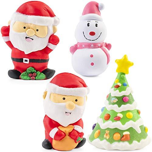 4 Piezas Grandes Squishies Toys de Navidad - Kawaii Diseño Festivo| 2...